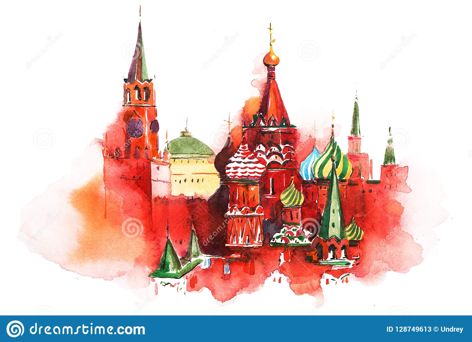 Saint Basil Cathedral Watercolor de place rouge de Moscou Russie