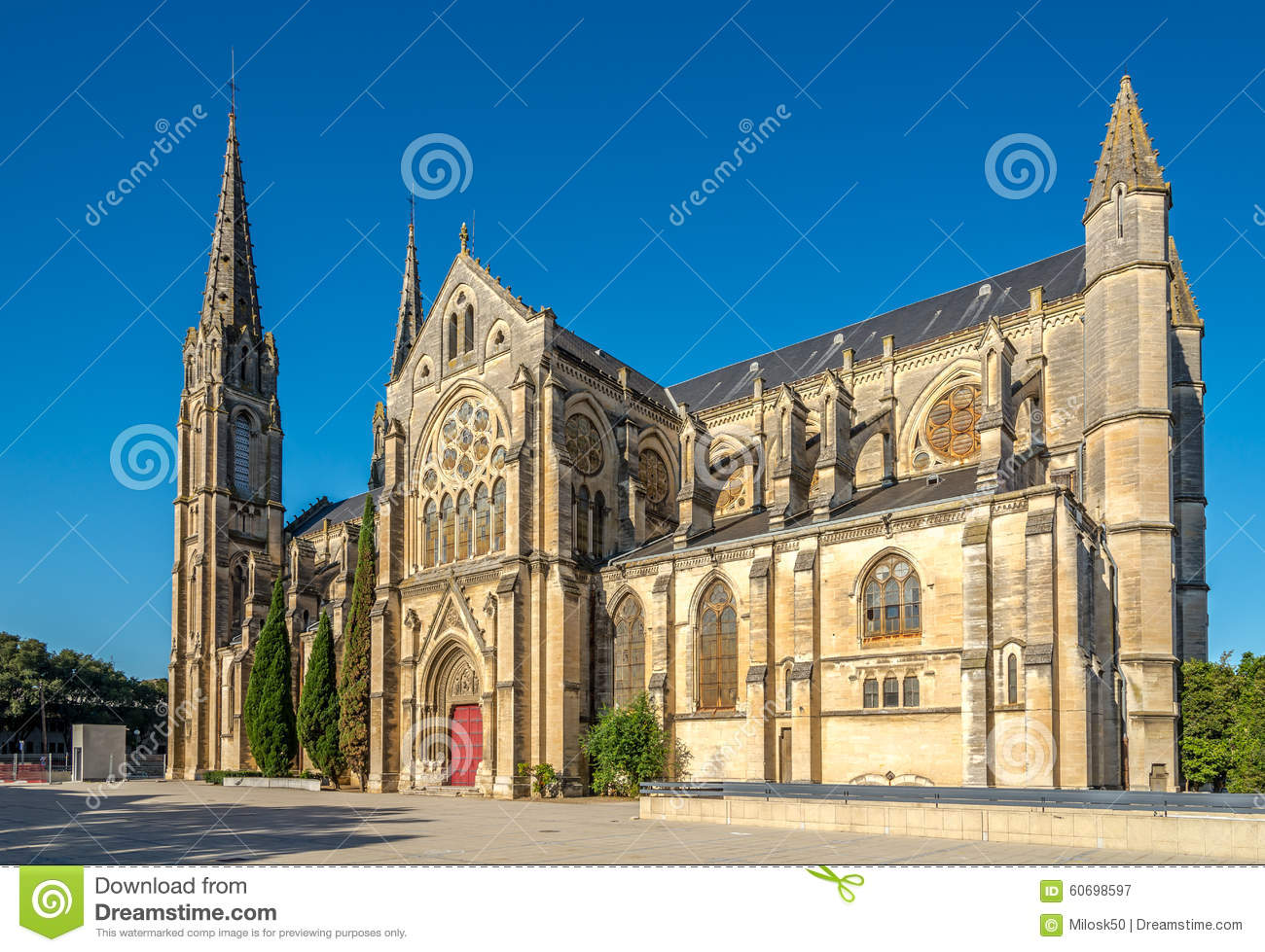 saint baudile cathedral of nimes stock photo image 60698597. Black Bedroom Furniture Sets. Home Design Ideas