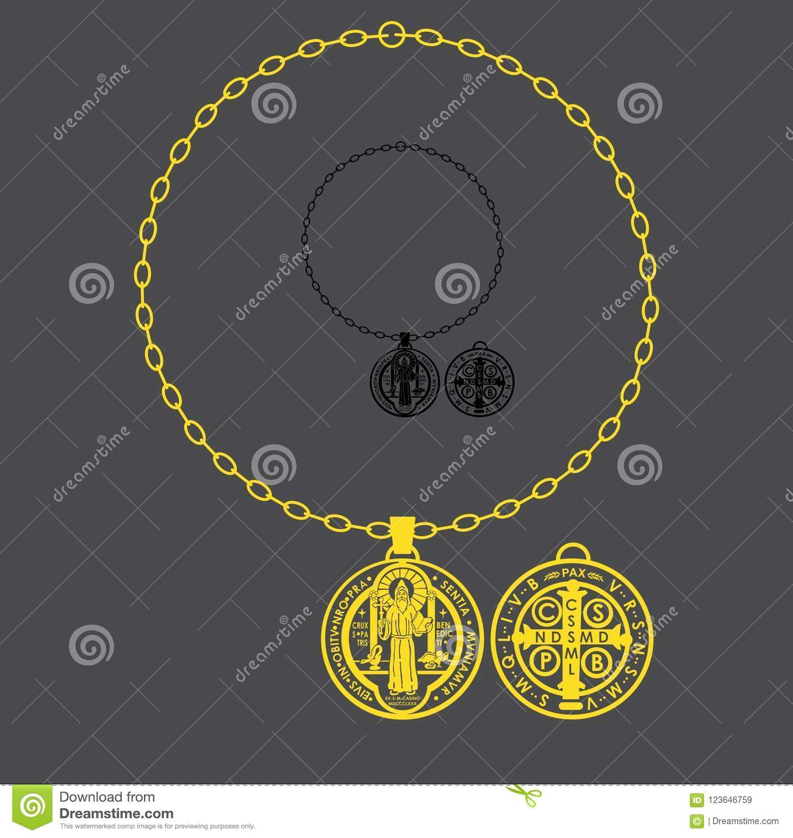 Saint Benedict Full Chain Stock Vector Illustration Of Icon 123646759