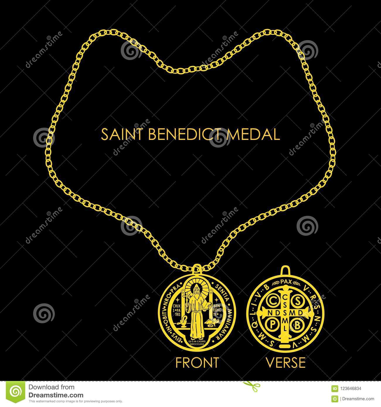 Saint Benedict Medal Golden Stock Vector Illustration Of Devotees