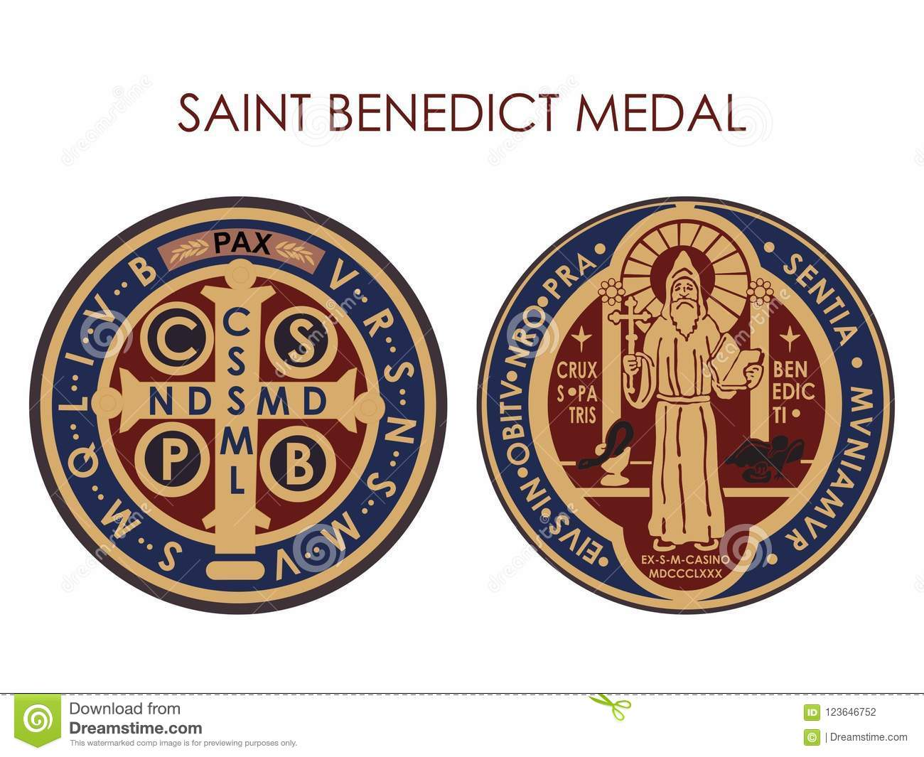 Saint Benedict Medal Stock Vector Illustration Of Devotees 123646752