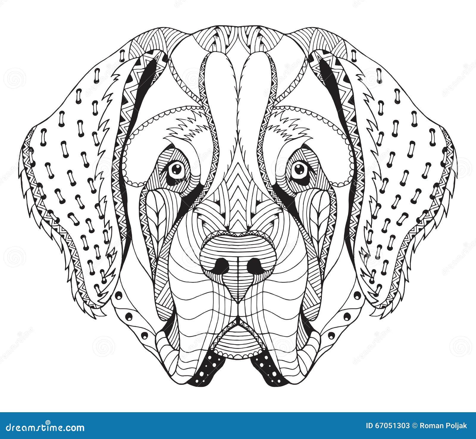 Saint Bernard Dog Zentangle Stylized Head, Freehand Pencil, Hand ...