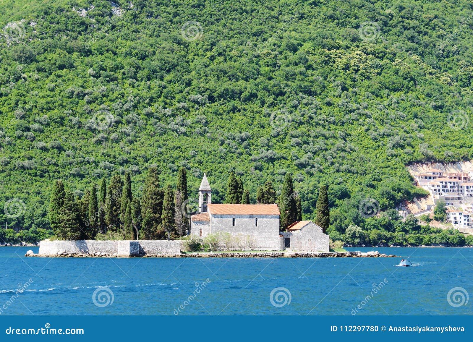 Saint George Benedictine monastery in Perast, Kotor bay, Montenegro