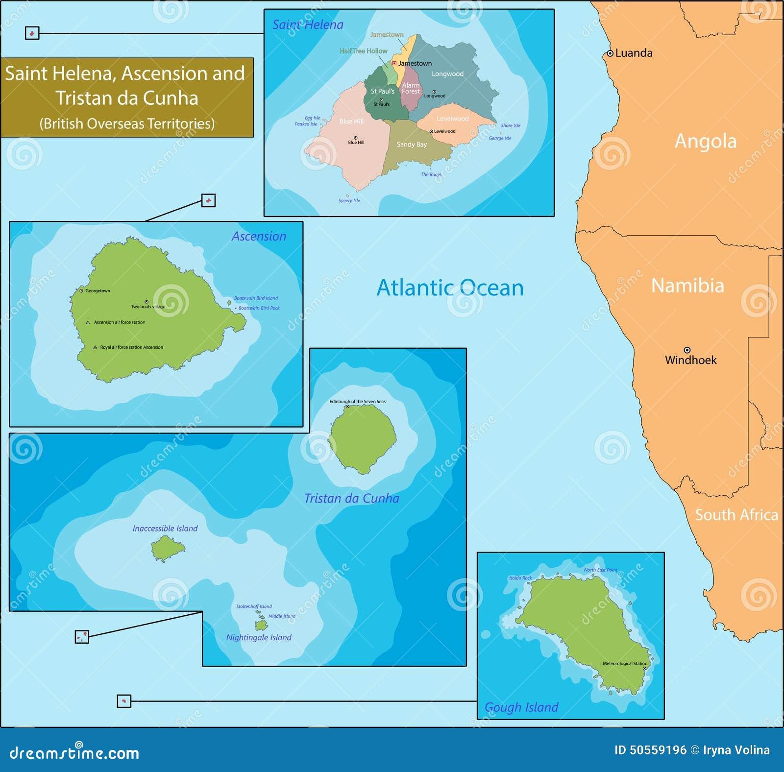 Saint Helena Ascension And Tristan Da Cunha Map Stock Vector - Tristan da cunha map
