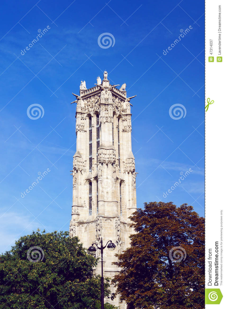 saint jacques tower in paris stock image image of tree touristic 47314037. Black Bedroom Furniture Sets. Home Design Ideas