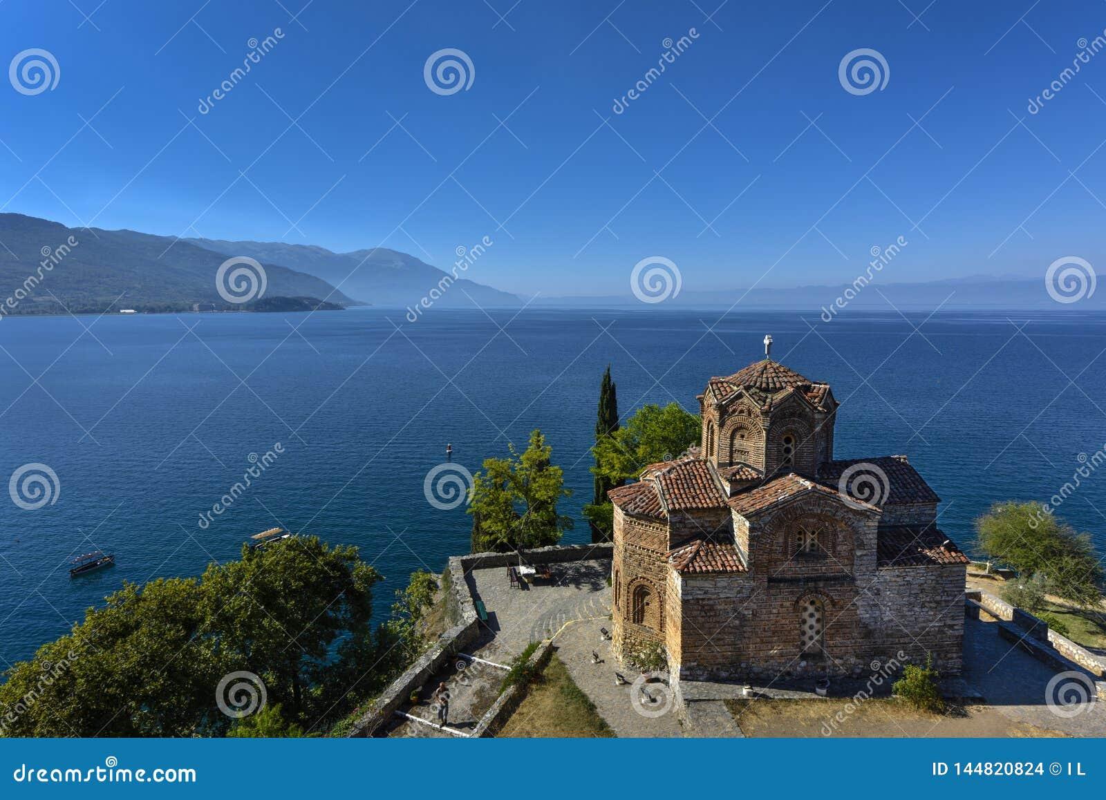 Saint John - Kaneo, orthodoxe Kirche in Ohrid rief auch Sveti-Heiliges Jovan Kaneo, Mazedonien an