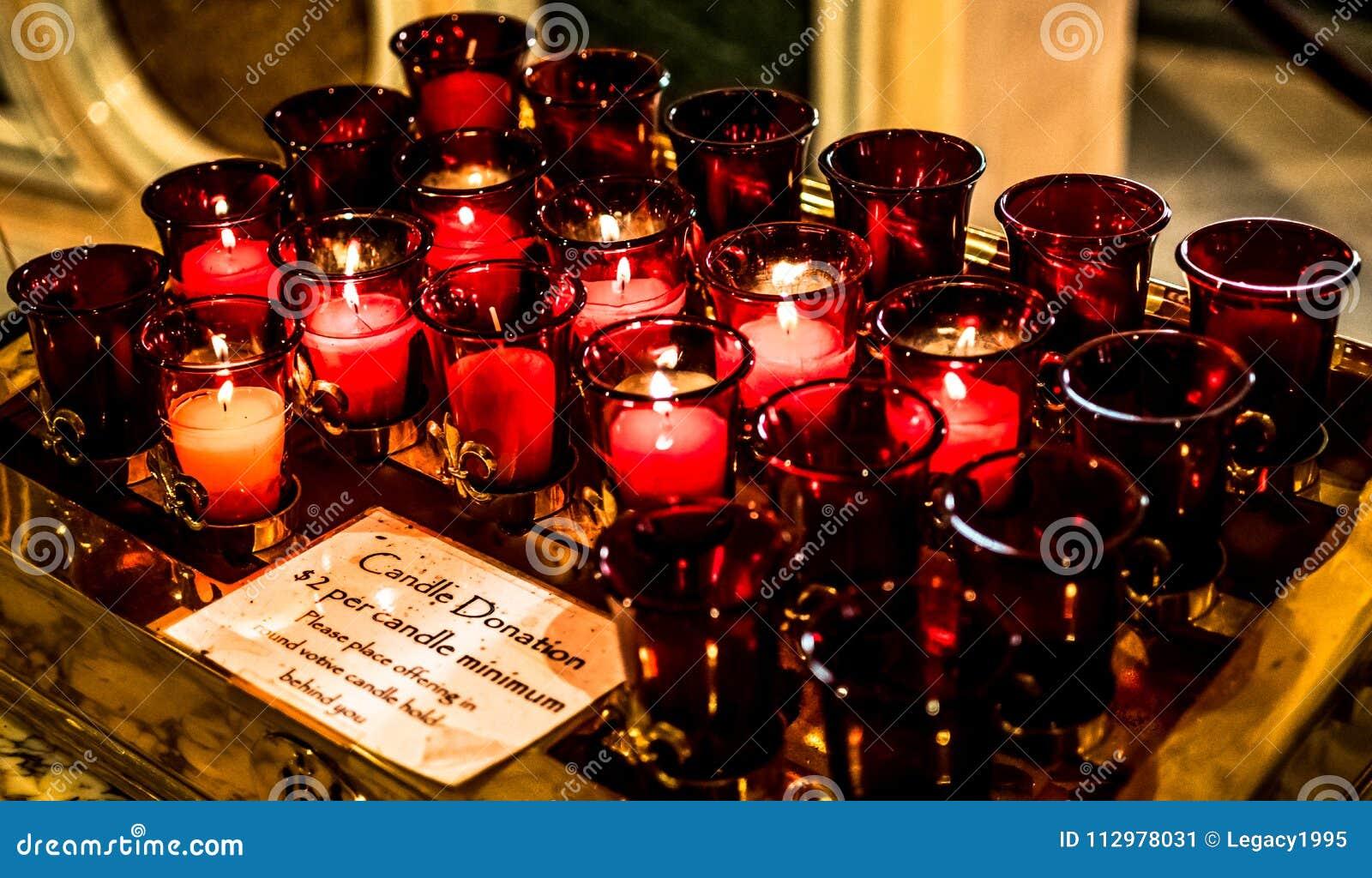Saint Louis Basilica Side Altar Red Prayer Candles