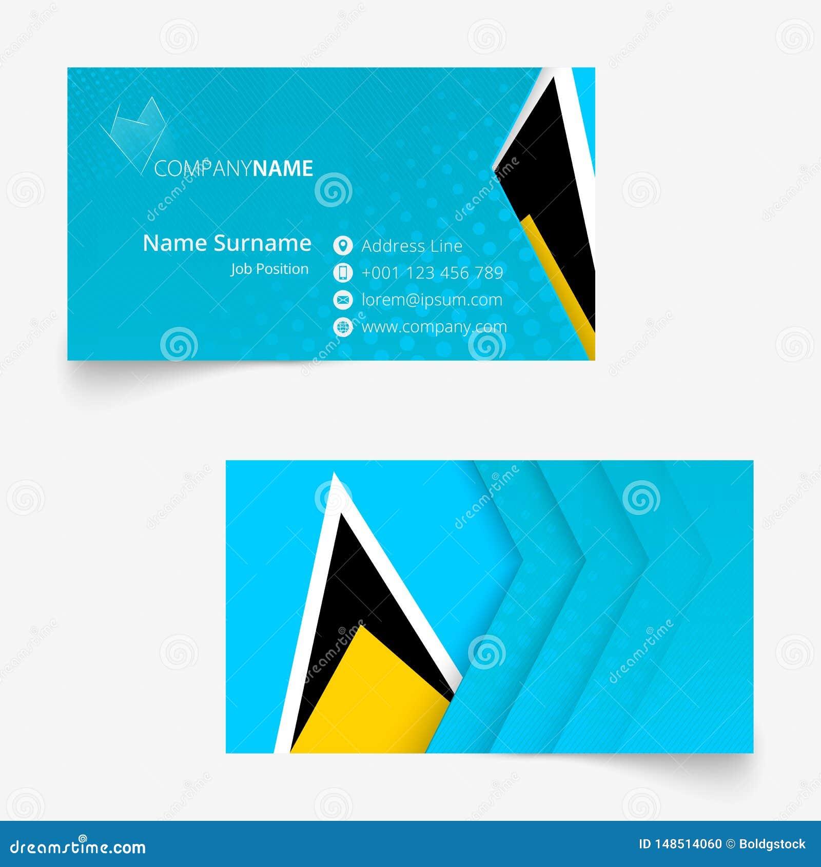 saint lucia flag business card standard size 90x50 mm