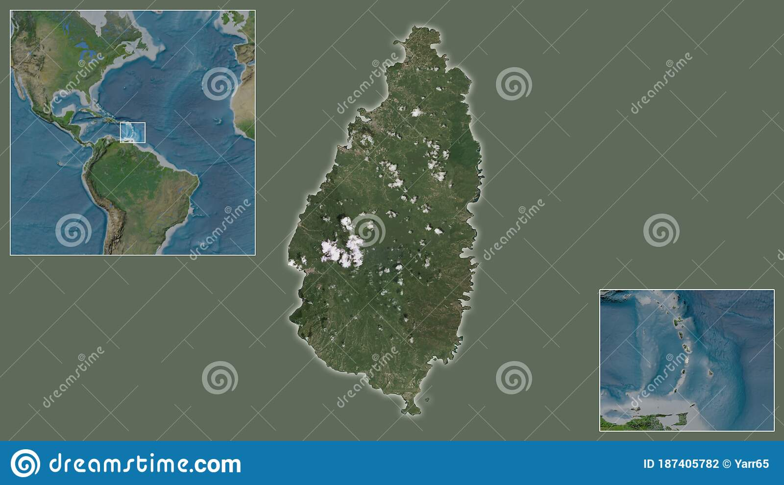 Image of: Saint Lucia Satellite Country And Its Location Stock Illustration Illustration Of Bathymetry Area 187405782