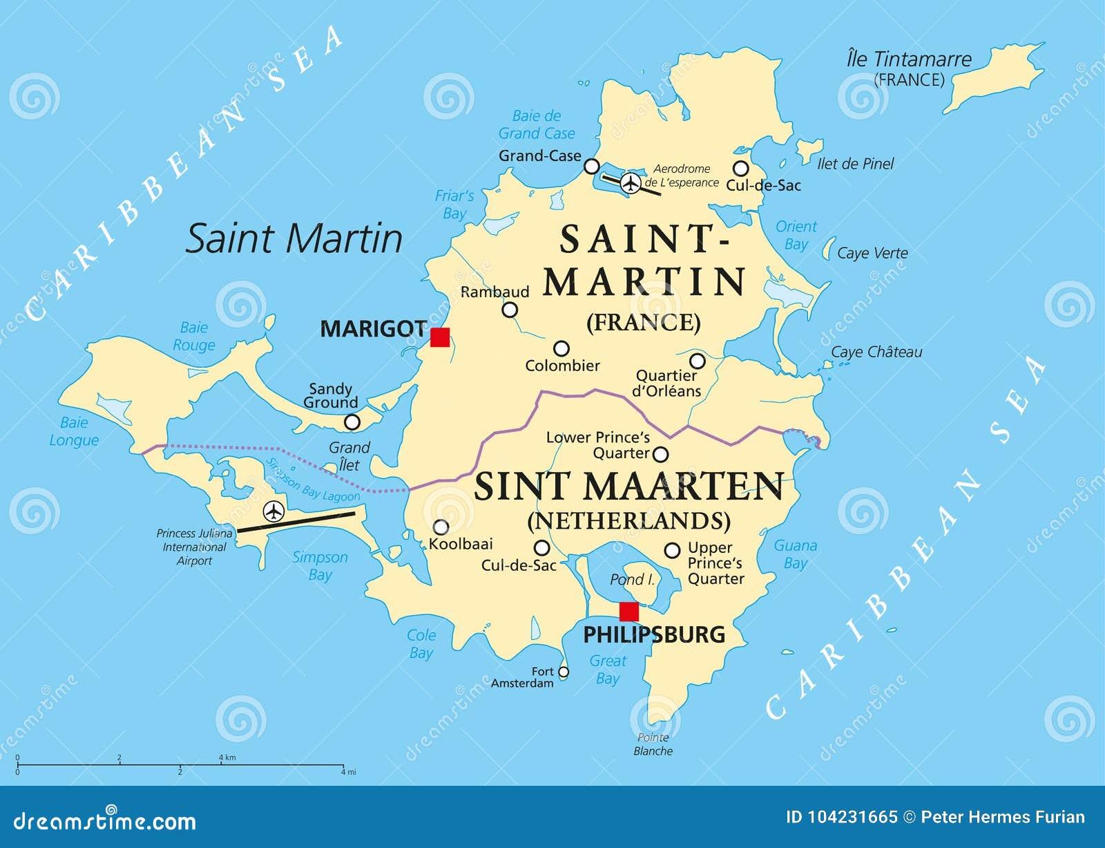 Saint Martin Island Political Map Stock Illustration - Illustration ...