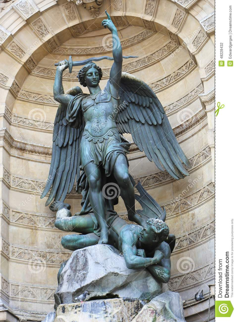 saint michael in paris stock photo image of angel michel 48228432