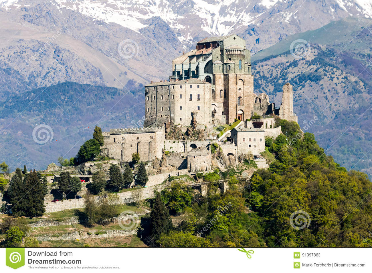 Saint Michael`s Abbey Of The Val Di Susa, Torino, Italy Stock ...