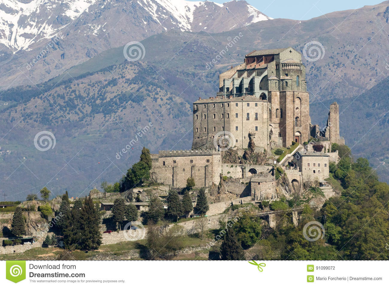 Saint Michael`s Abbey Of The Val Di Susa, Torino, Italy Stock Photo ...