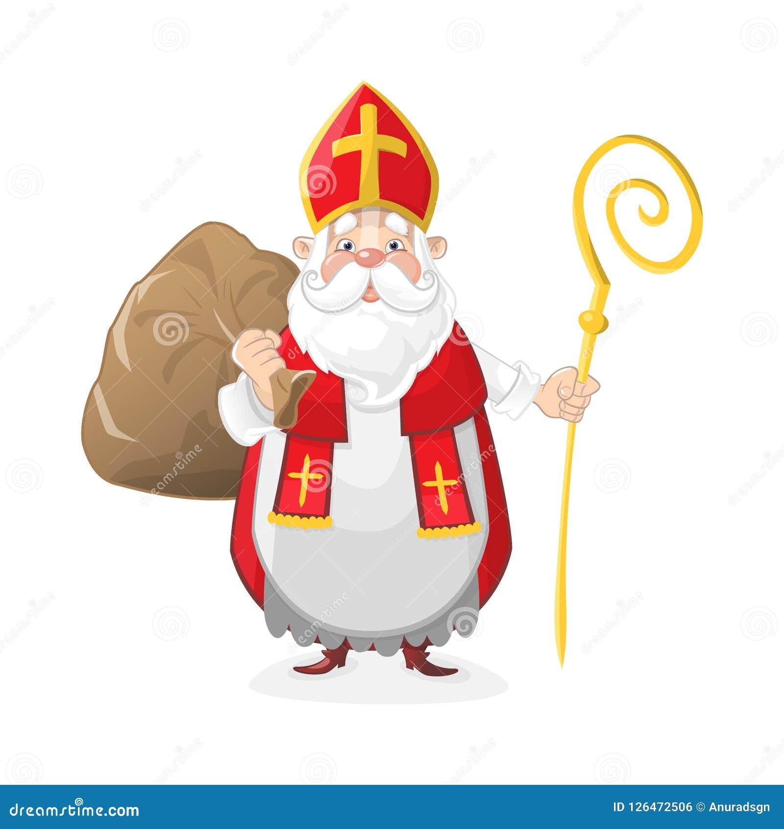 Saint Nicolas Mignonne Avec Des Cadeaux Dans Le Personnage De