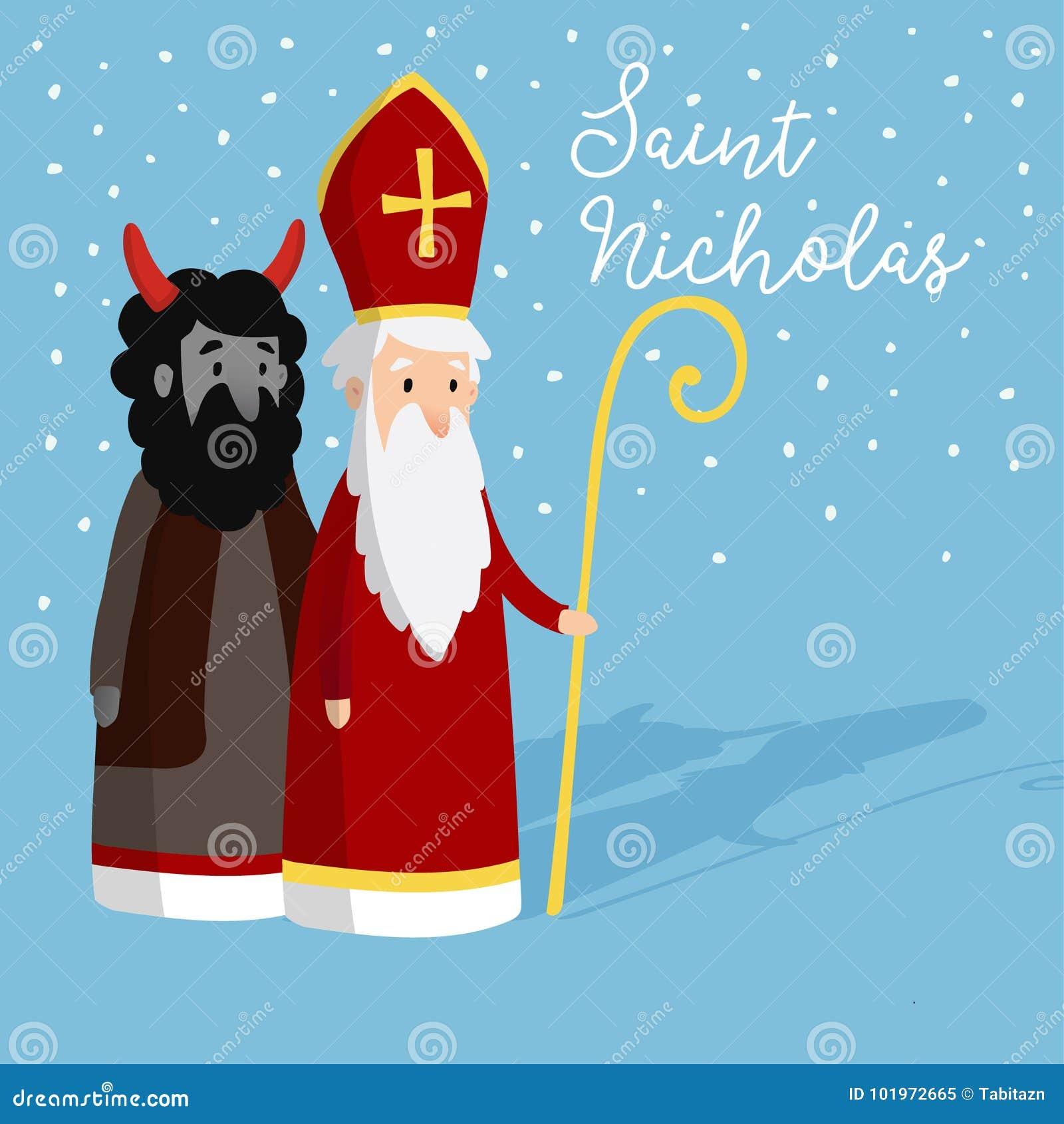 c5264475ede6 Saint-Nicolas mignonne avec le diable et la neige en baisse Carte d  invitation de Noël, illustration de vecteur Fond de l hiver