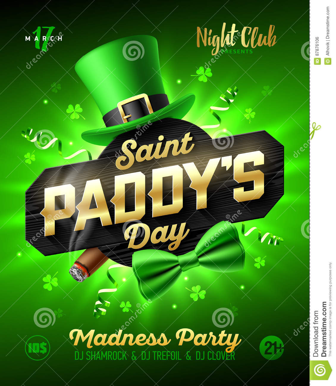 73178d42 Saint Paddy`s Day party poster design, 17 March, Patrick`s Day nightclub  invitation with leprechaun hat, gold lettering, party streamers, green bow  tie and ...