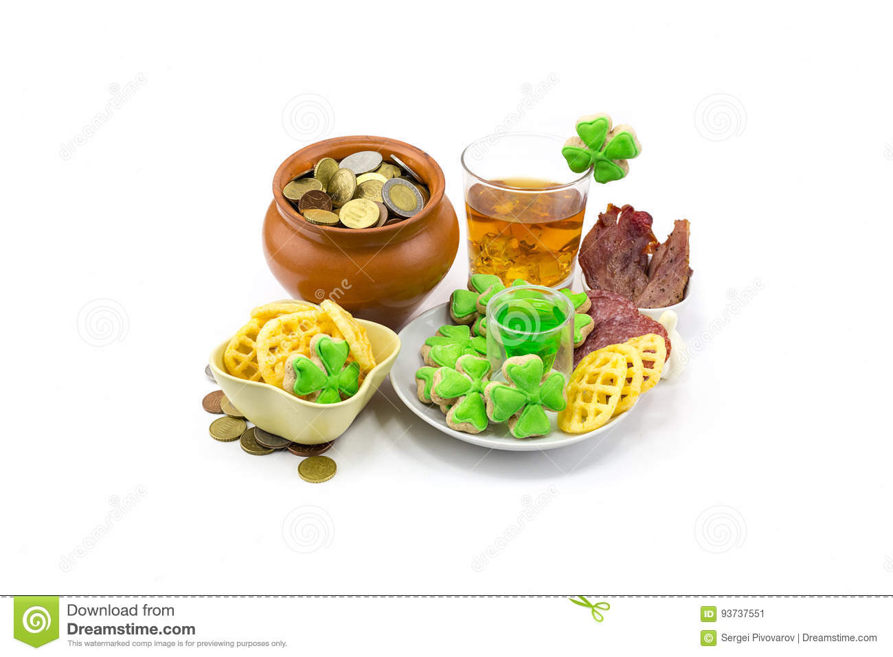 Saint Patrick's Day Scotch whiskey glass ice extraction pot of gold coins and clover snack plate of meat and biscuits