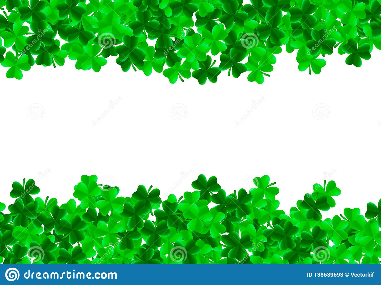 c14c1b0a Saint Patrick day background with green bright leaves of trefoil clover and  white space in center. Luck and success concept. Vector illustration