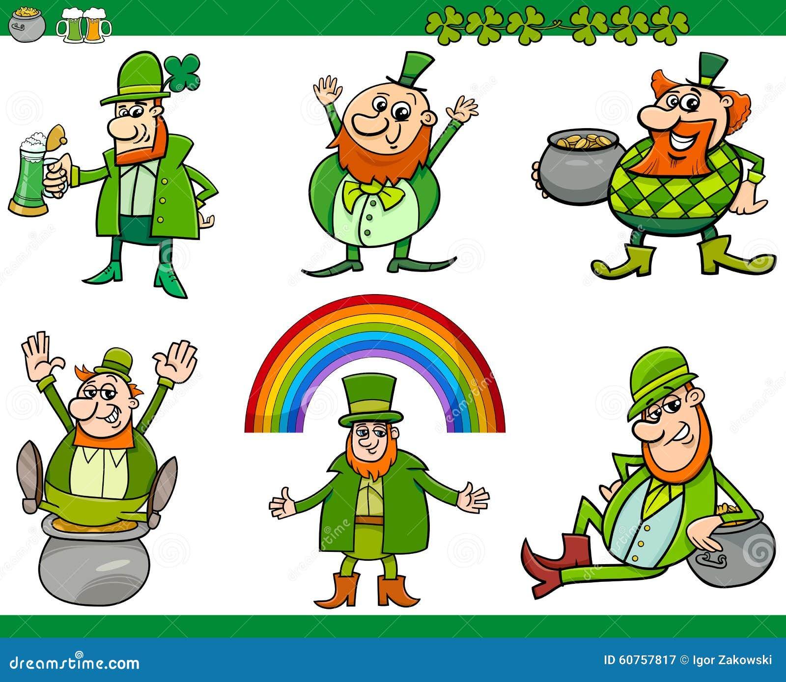saint patrick day cartoon set stock vector illustration of