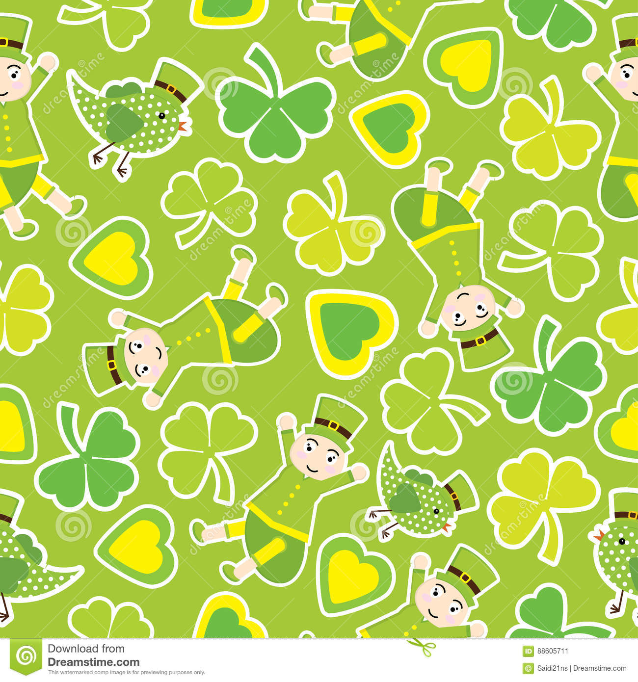 Saint Patrick Day S Seamless Pattern With Cute Ant And Shamrock