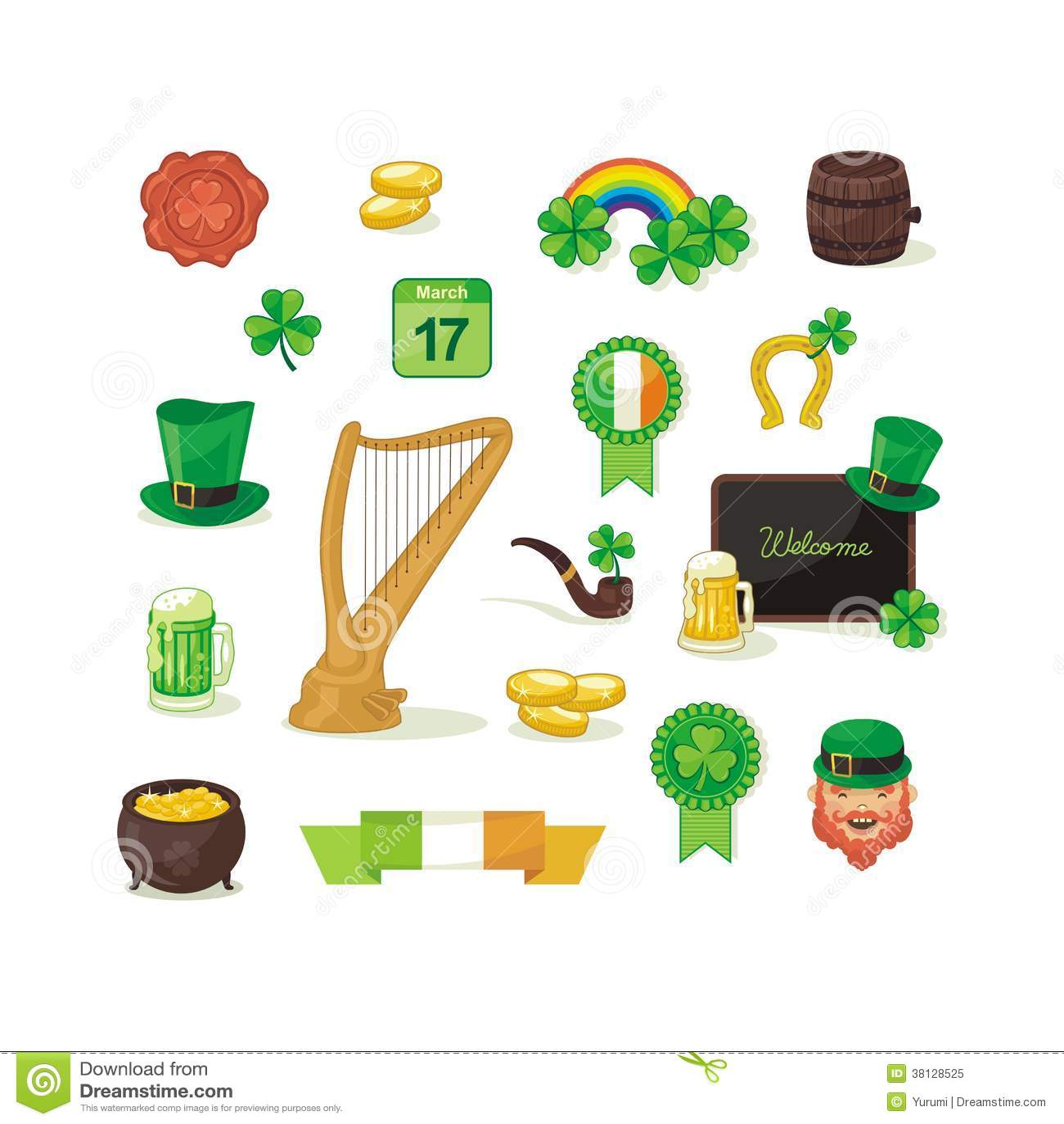 Saint patrick day set stock vector image of leaf harp - Immagini st patrick a colori ...