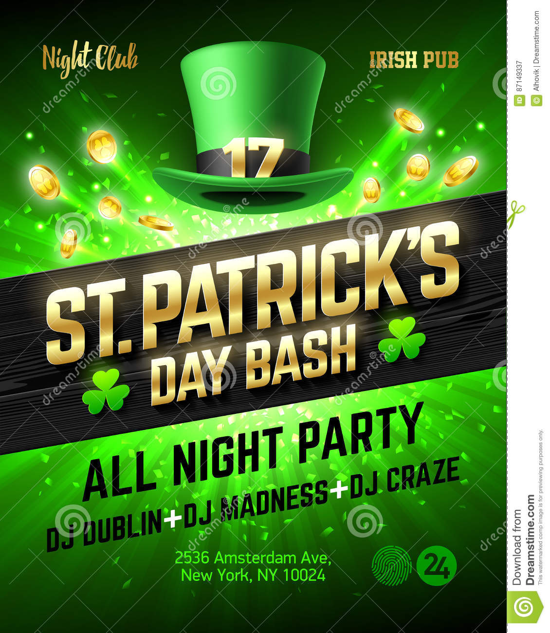 Poster design dublin - Saint Patrick S Day Bash Celebration Poster Design