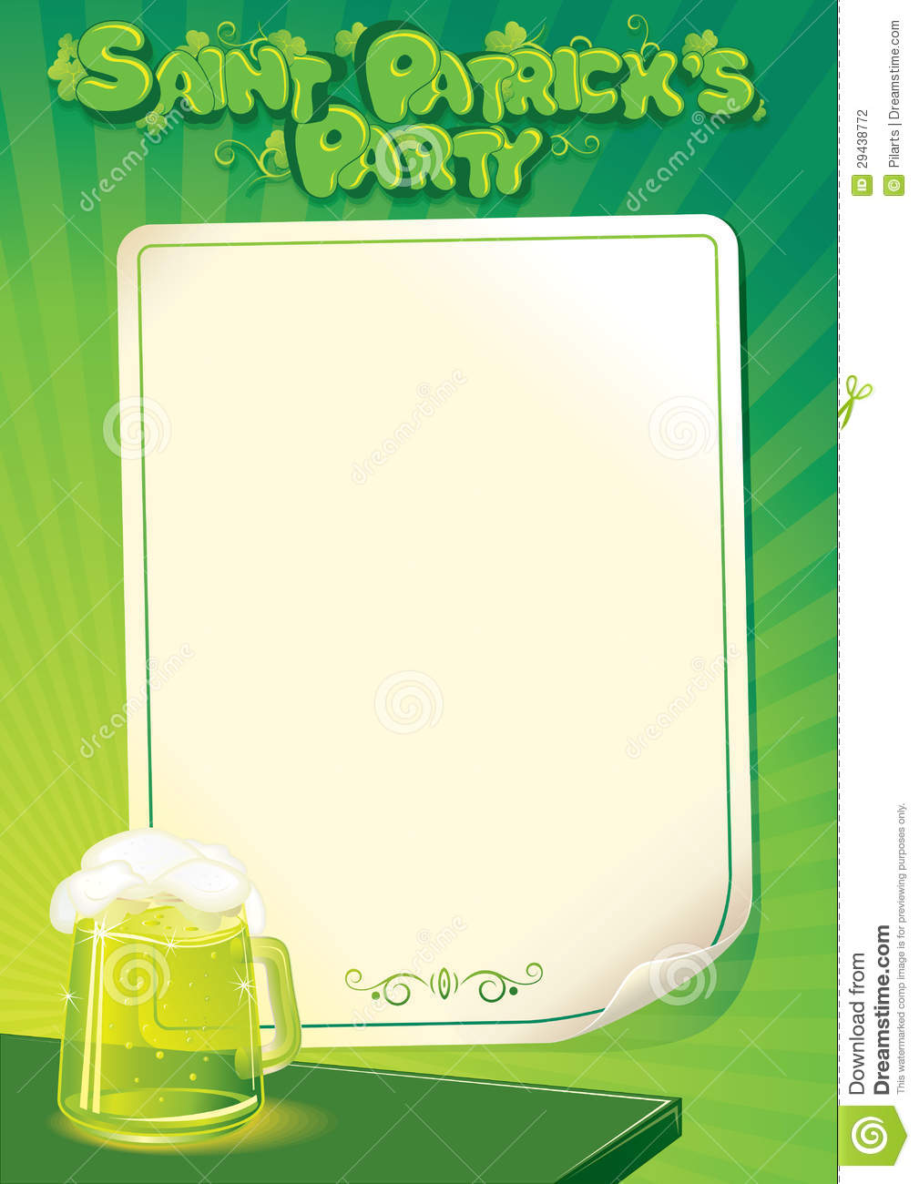 Saint Patrick's Day Party Background. Vector Template of Poster, Menu ...