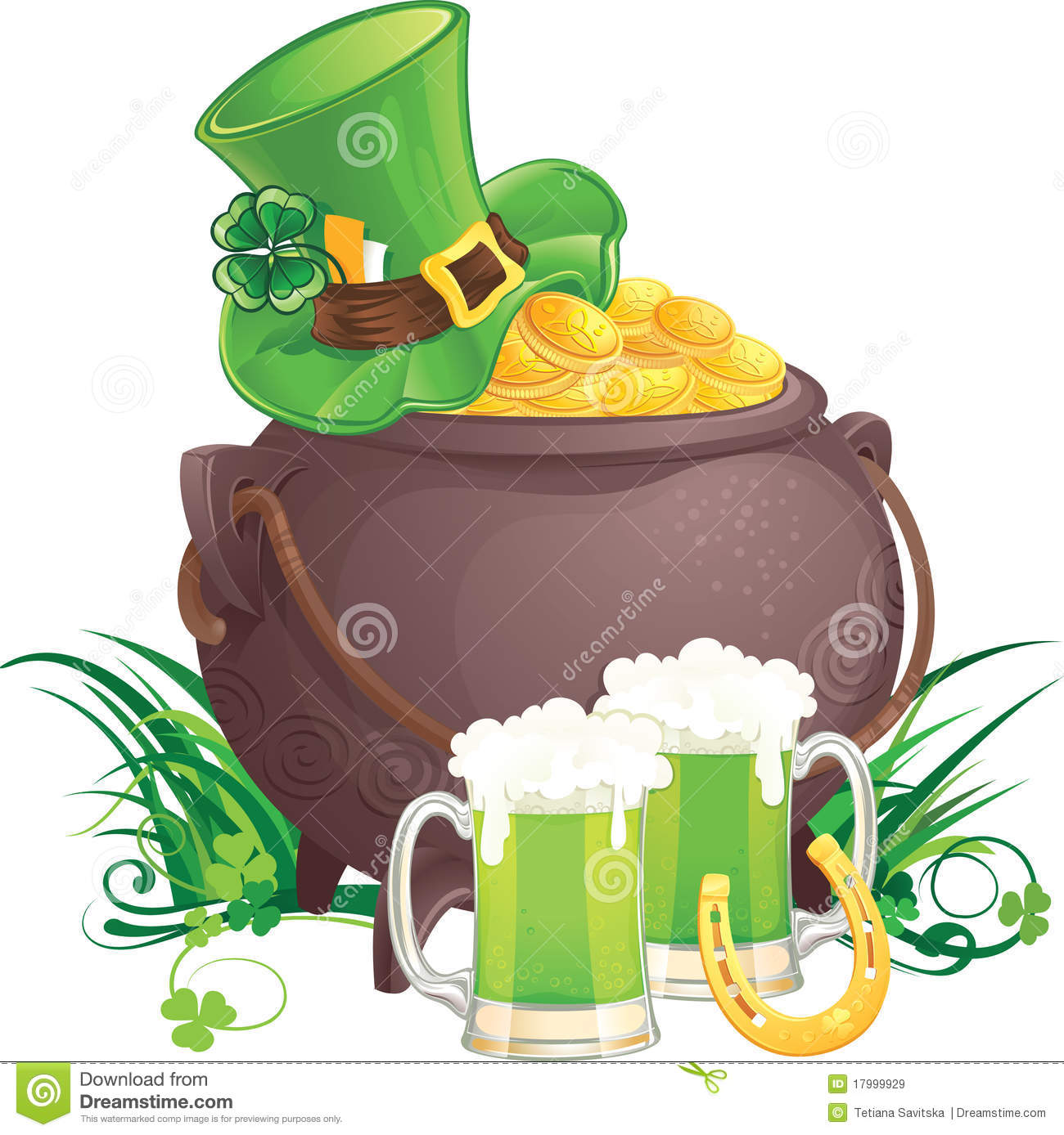 The mythical pot of gold, leprechaun hat and green beer for St ...