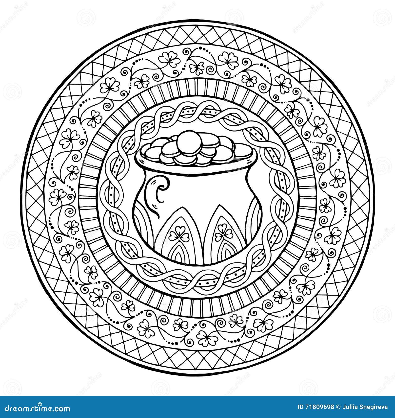 Saint Patrick's Day Theme Mandala With Irish Pot Of Gold ...