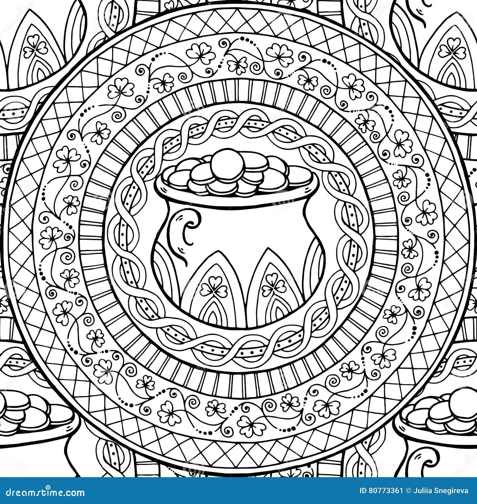 Saint Patrick`s Day Theme Mandala With Irish Pot, Golden ...