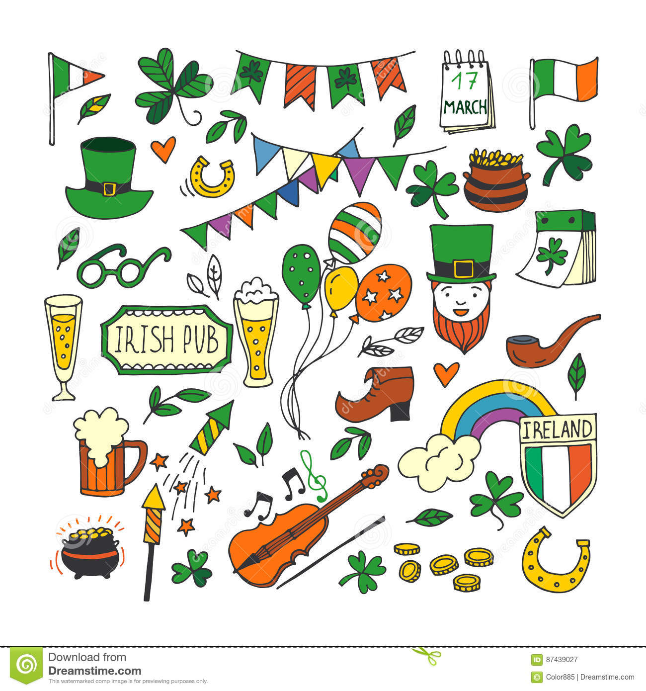 Saint Patricks Day Traditional Symbols Collection Stock Vector
