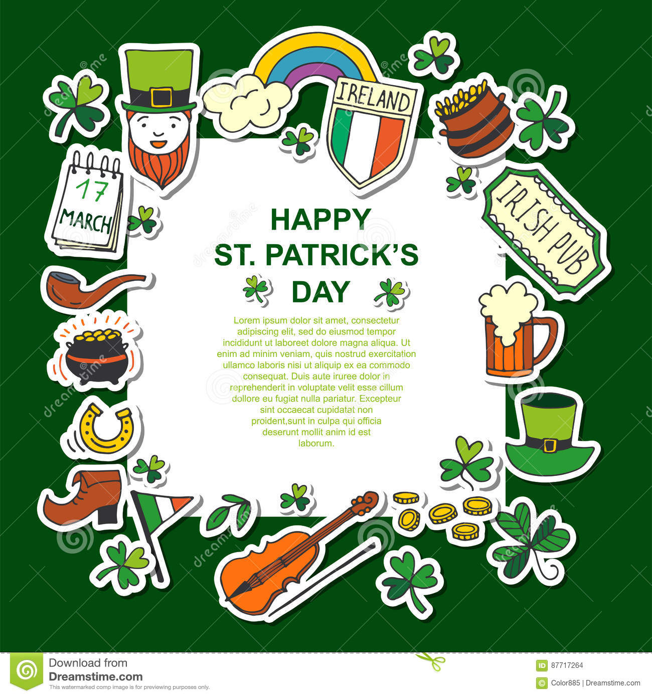 Saint Patrick`s Day Traditional Symbols Collection. Stock Vector ...