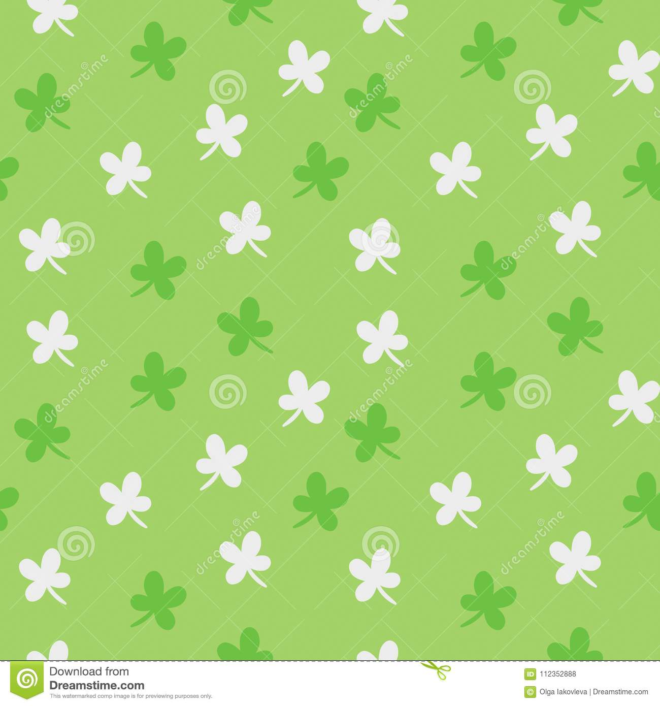 Saint Patrick`s day vector seamless pattern. Green and white clover colorful background