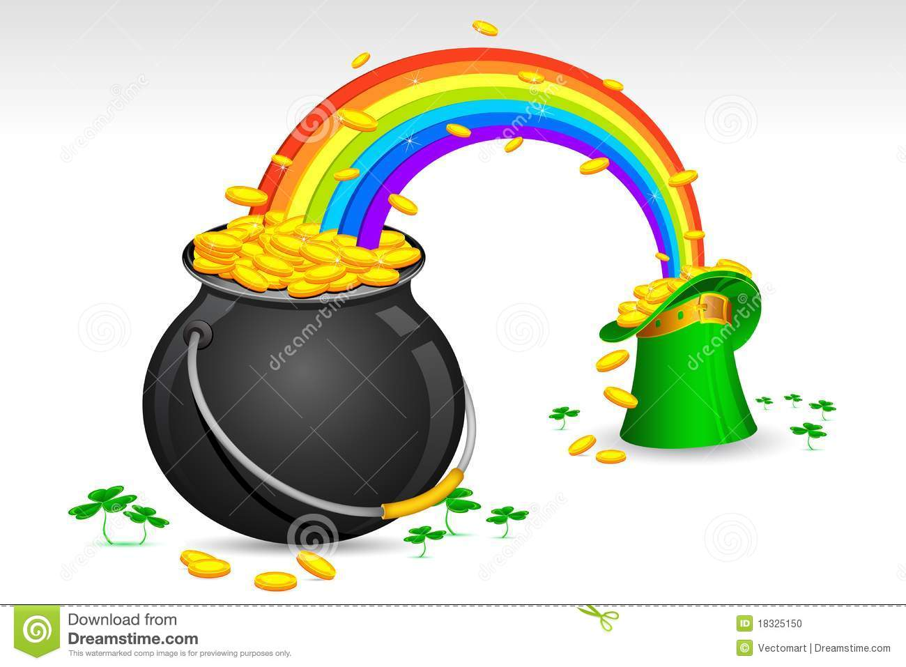 Illustration of Saint Patrick's hat and pot filled with gold coins.
