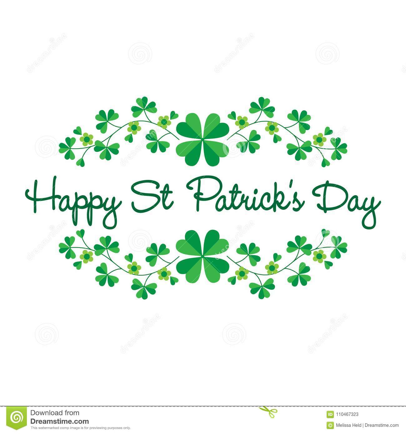 Saint Patricks Day Graphic With Border Pattern Stock Vector Illustration Of Leaf Decoration 110467323