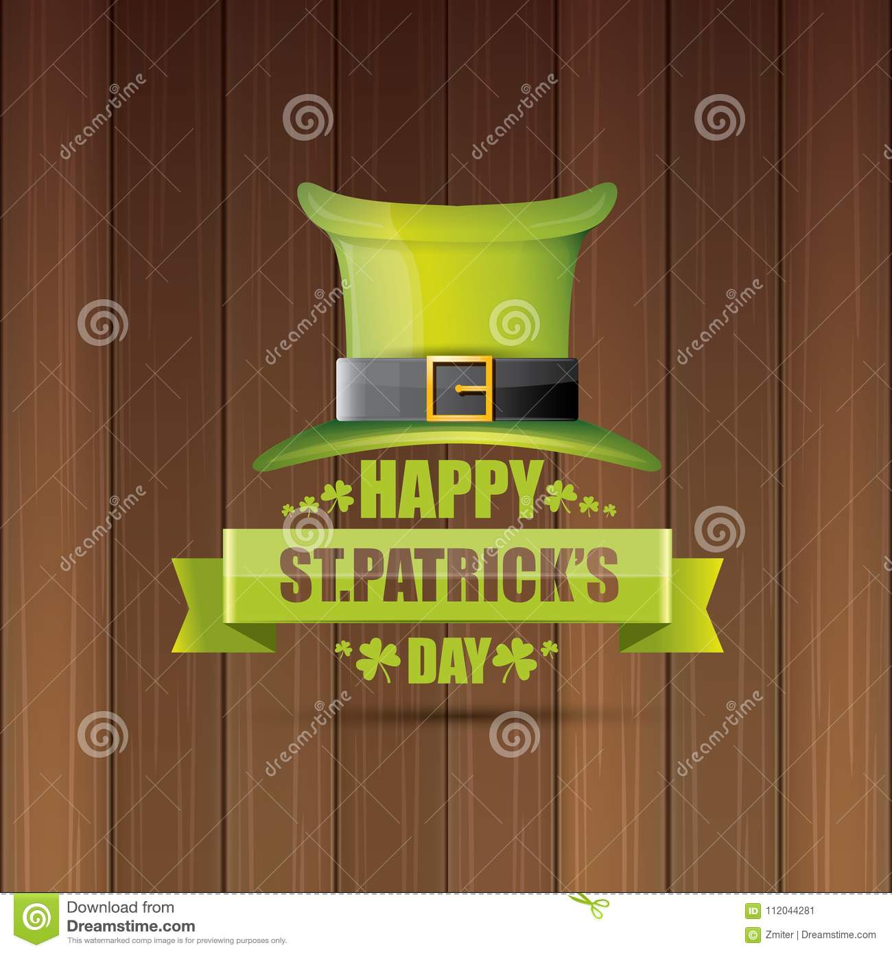 Saint Patricks Day Label Or Poster With Green Hat Lucky Clovers And