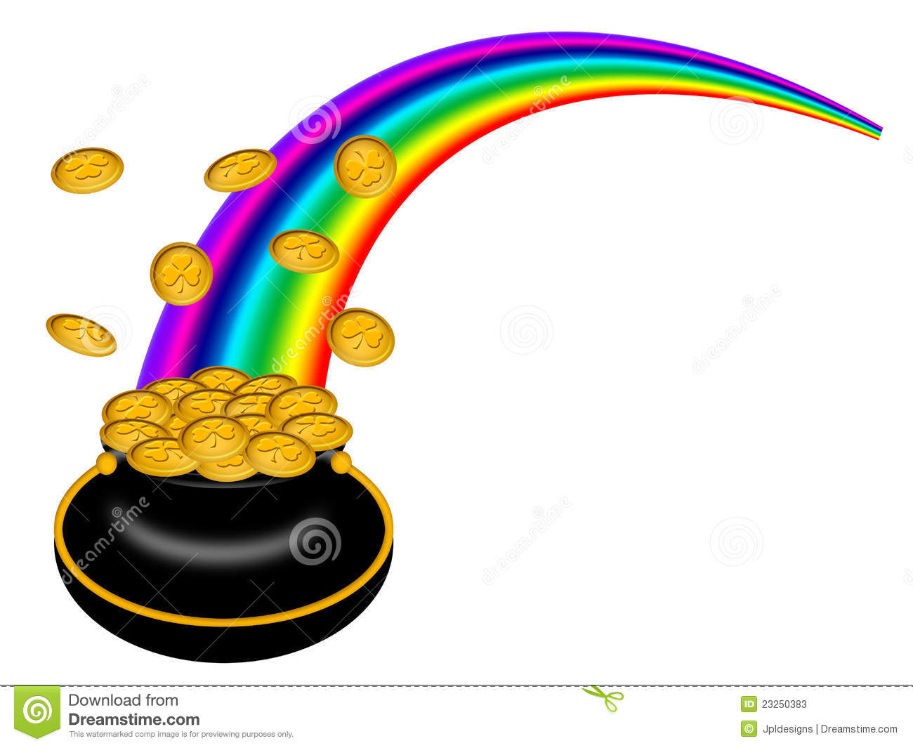 Saint Patricks Day Pot Of Gold With Rainbow Stock Illustration