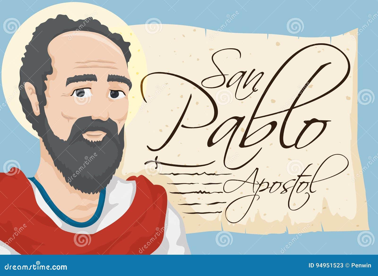 Saint Paul med den forntida snirkeln med spansk text, vektorillustration