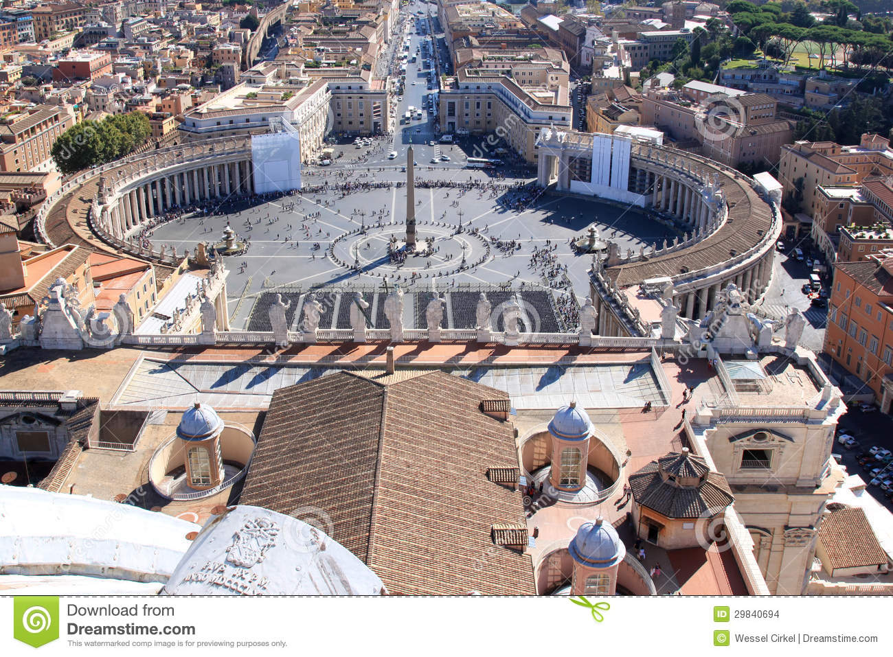 Piazza San Pietro From The Roof, Rome, Italy Editorial Stock Image ...