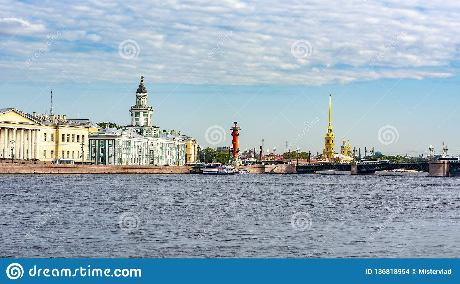 Saint Petersburg cityscape with Kunstkamera and Peter and Paul fortress, Russia