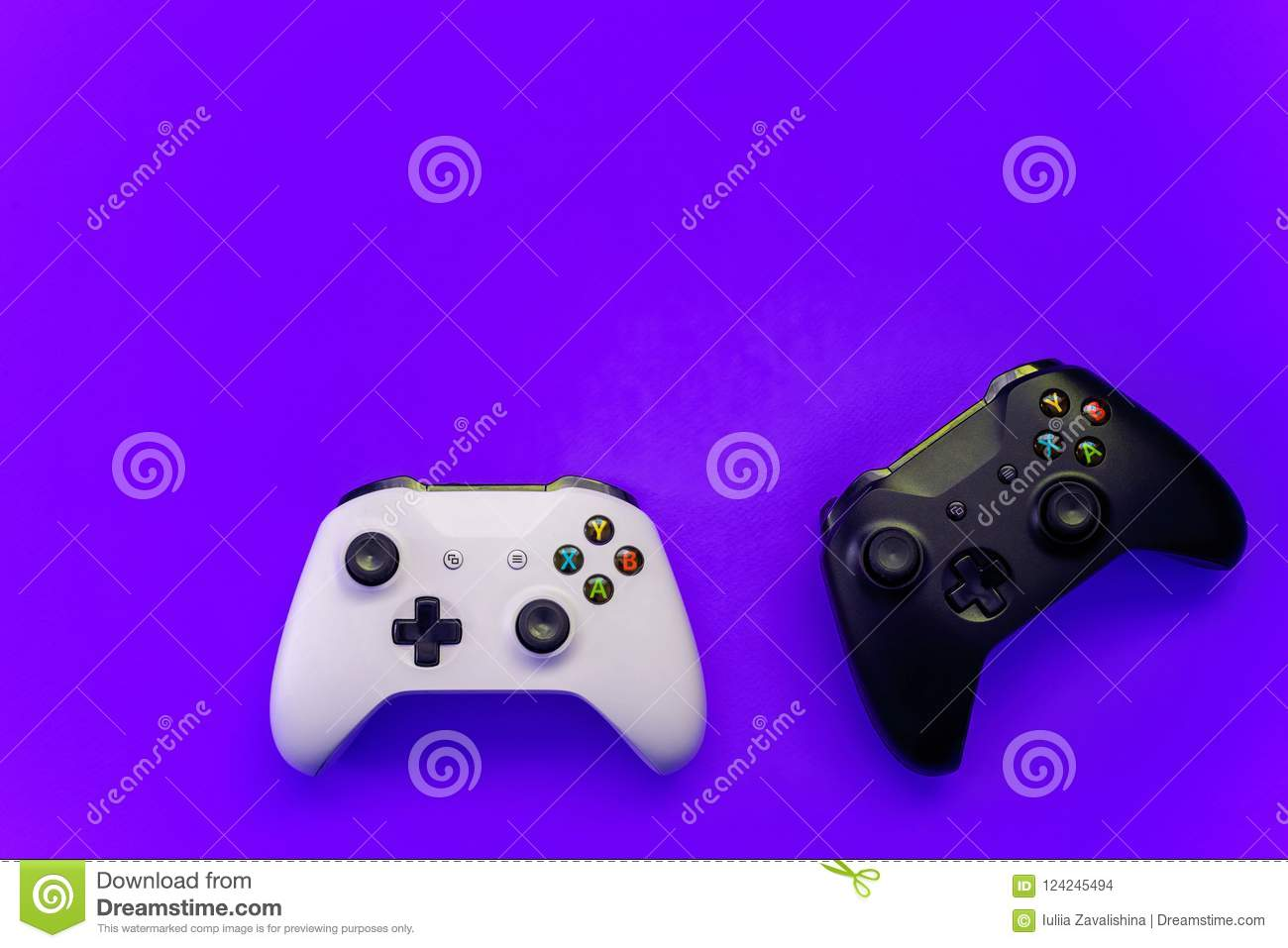 saint petersburg russia april black white joystick xbox one s gamepad game console purple background computer gaming 124245494