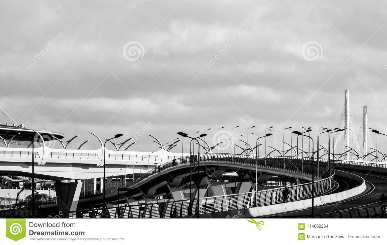 Saint-Petersburg, Russia - April, 2017: high-speed highway connected districts of the city the High-Speed Diameter-site under cons