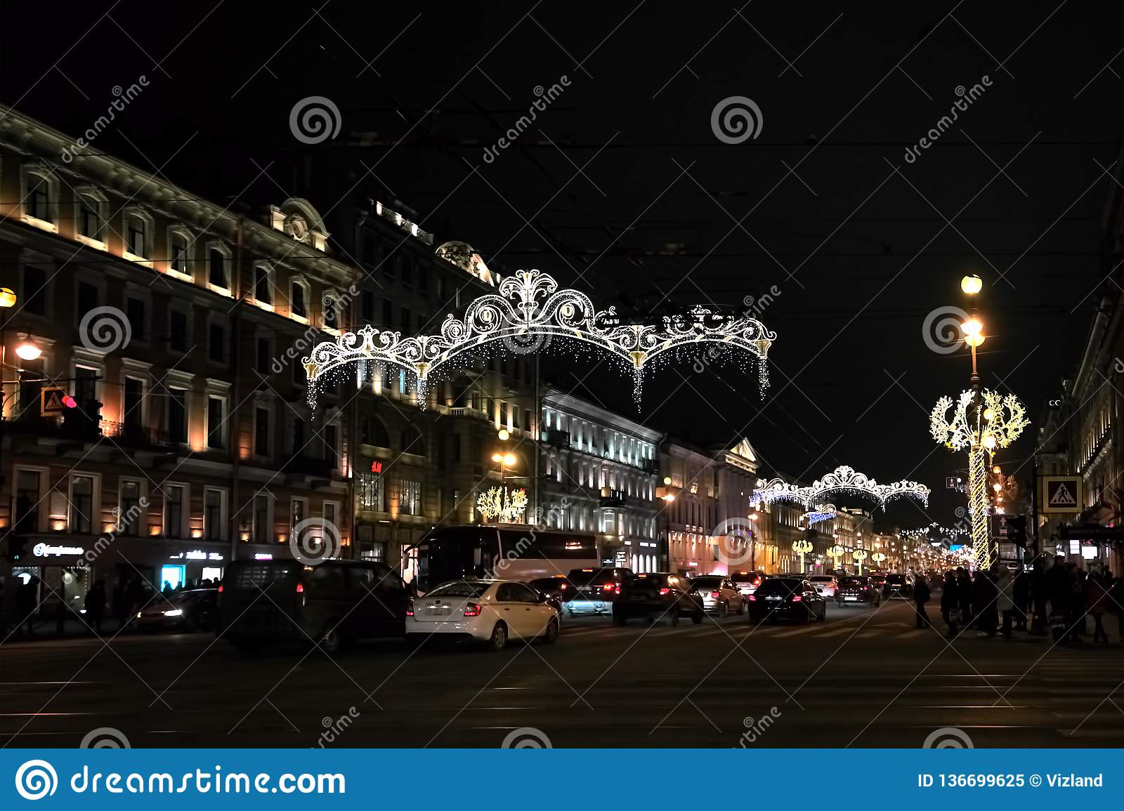 SAINT PETERSBURG, RUSSIA - DECEMBER 15, 2018: View Of Nevsky Prospect With Christmas ...