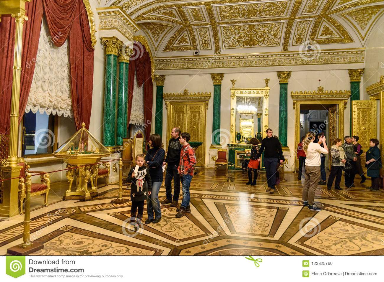 Tourists in the Malachite Room of State Hermitage Museum. Saint Petersburg. Russia