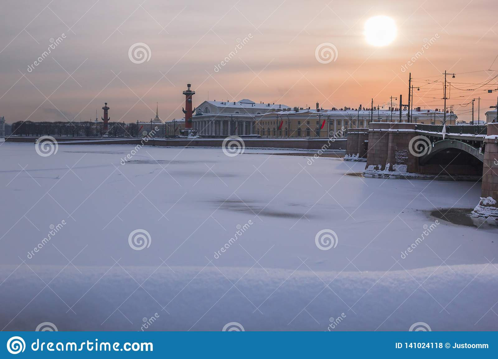 Saint Petersburg, Russia - January 27, 2019: Winter view of St. Petersburg, Russia, with the Palace Bridge, the Rostral