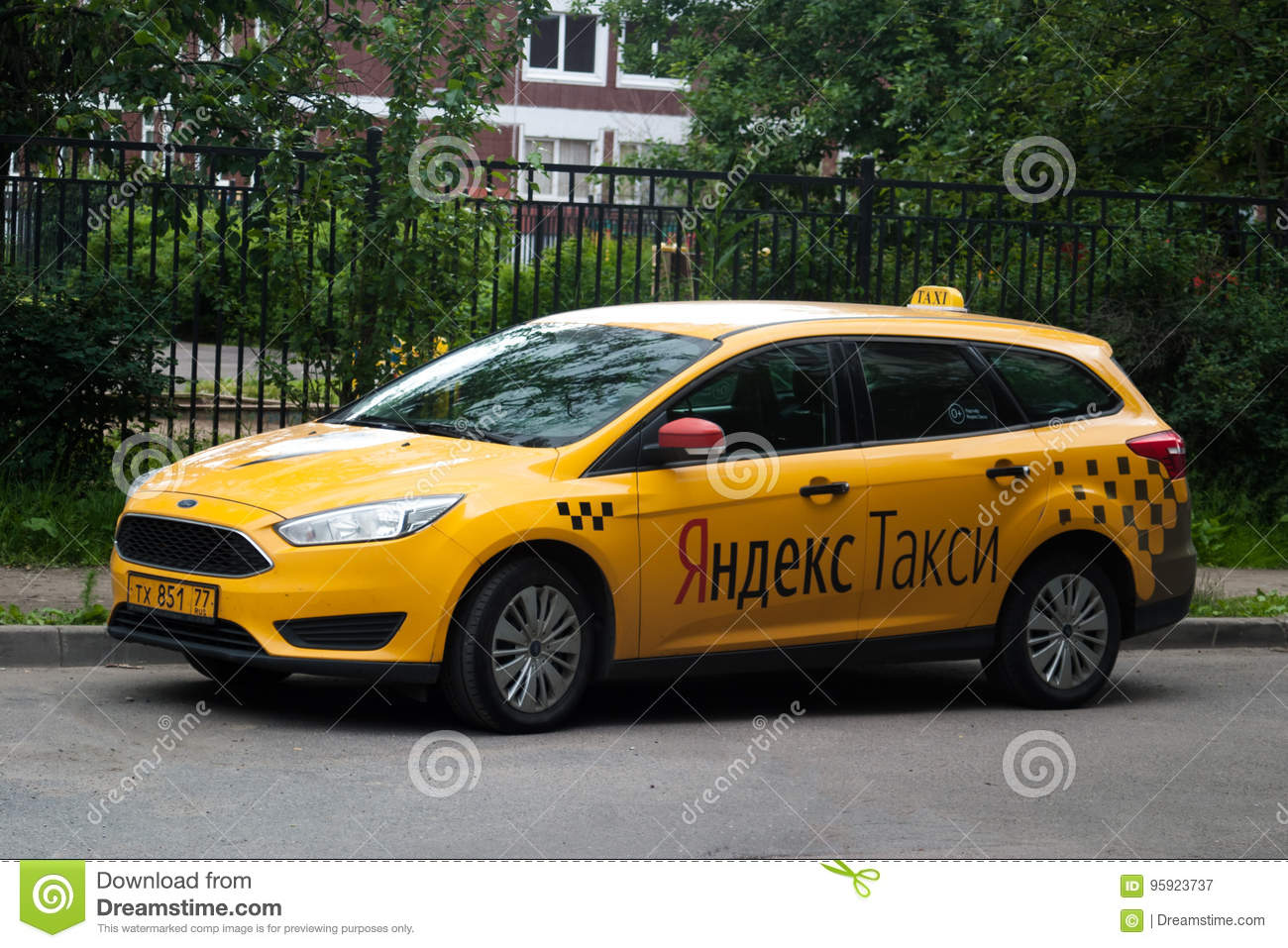 Saint Petersburg, Russia - July 08, 2017: Yellow Cab Company Yandex