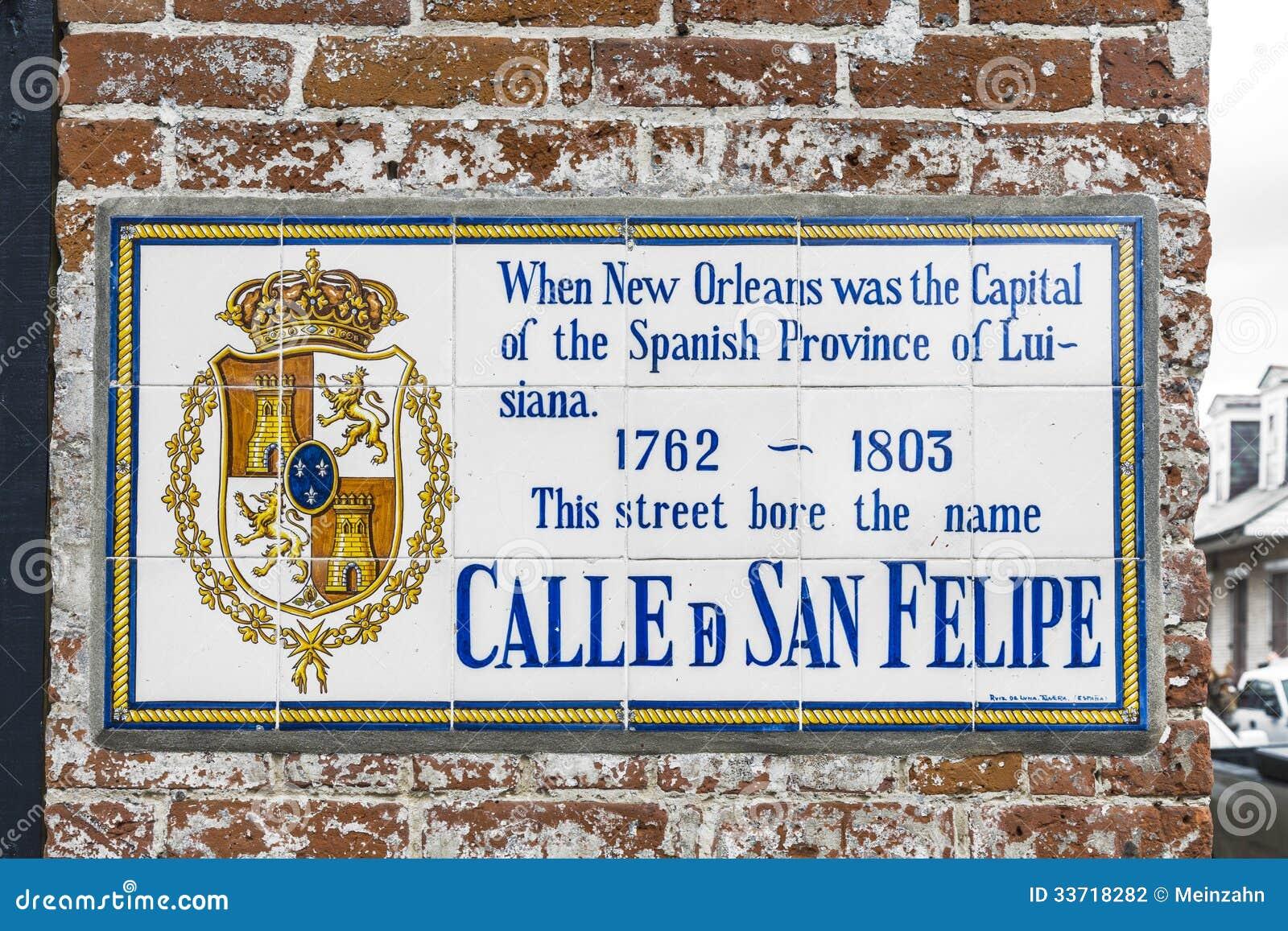 Saint Philip San Felipe historic street sign
