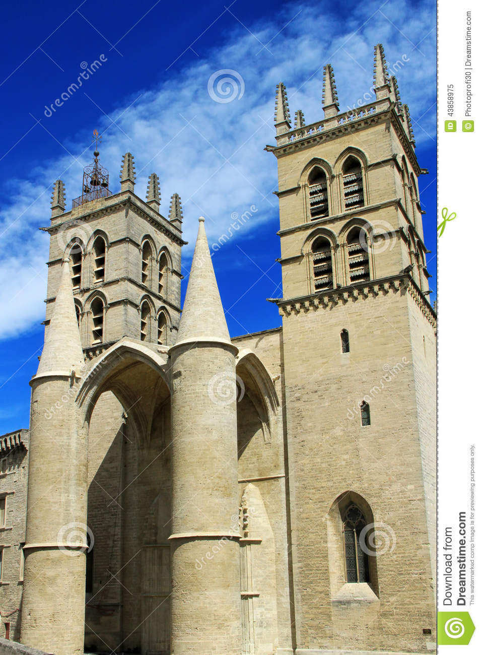 saint pierre cathedral montpellier france stock image 43858975. Black Bedroom Furniture Sets. Home Design Ideas