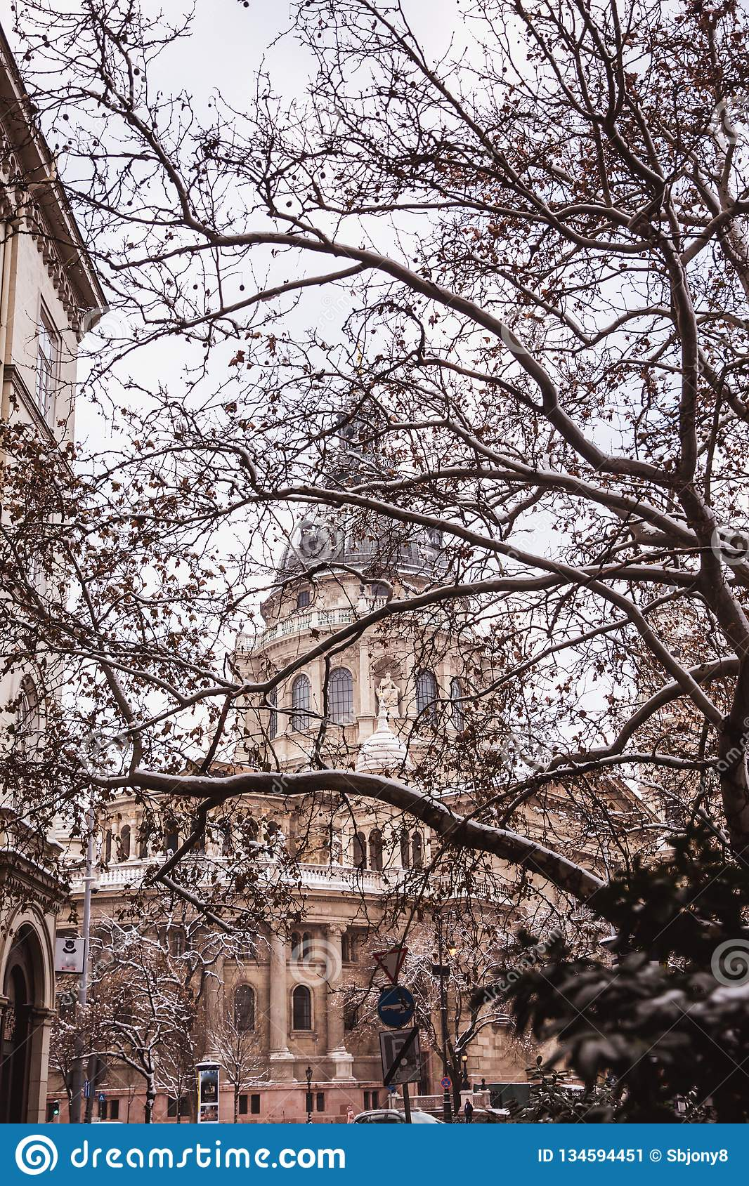 Saint Stephen basilica in winter cover snow, Budapest, Hungary