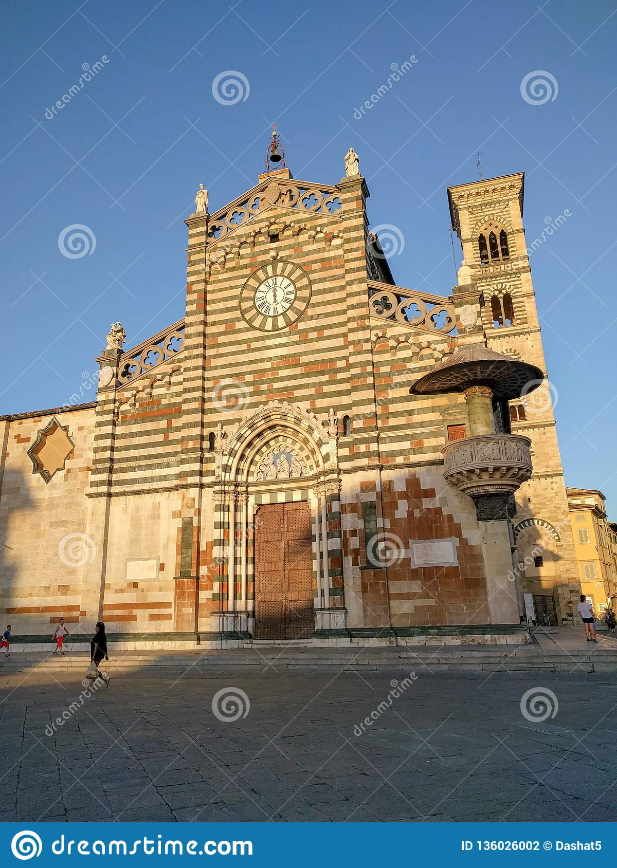 Saint Stephen`s Cathedral or Duomo di Prato at sunset light, Tuscany, Italy